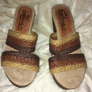 Sbicca wedge brown and tan straps